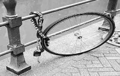 The wheel is locked, but not the frame